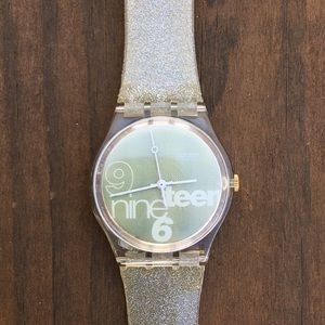 Gold glitter swatch watch
